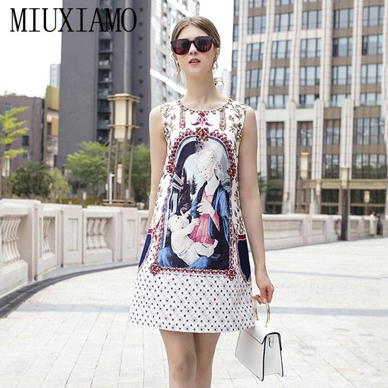 MIUXIMAO-vestido MIDI a la moda para primavera y verano 2019, vestidos informales por encima de la rodilla con estampado de diamantes y cuello redondo de la Virgen María estampado elegante