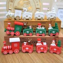 4 pièces Mini bois noël Train décoration décor cadeau noël noël Train ensembles modèle véhicule jouets en bois Train pour enfants