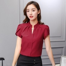Kadın V boyun şifon bluz kısa kollu düz renk gömlek büyük boy Bodycon zarif bayanlar sonbahar moda gömlek