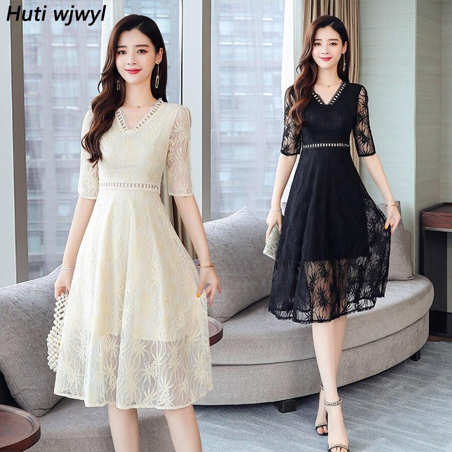 2020 Femal Vintage Elegant Black Lace Boho Midi Dresses Summer Plus Size Solid Sexy Beach Sundress Women Bodycon Party Vestidos
