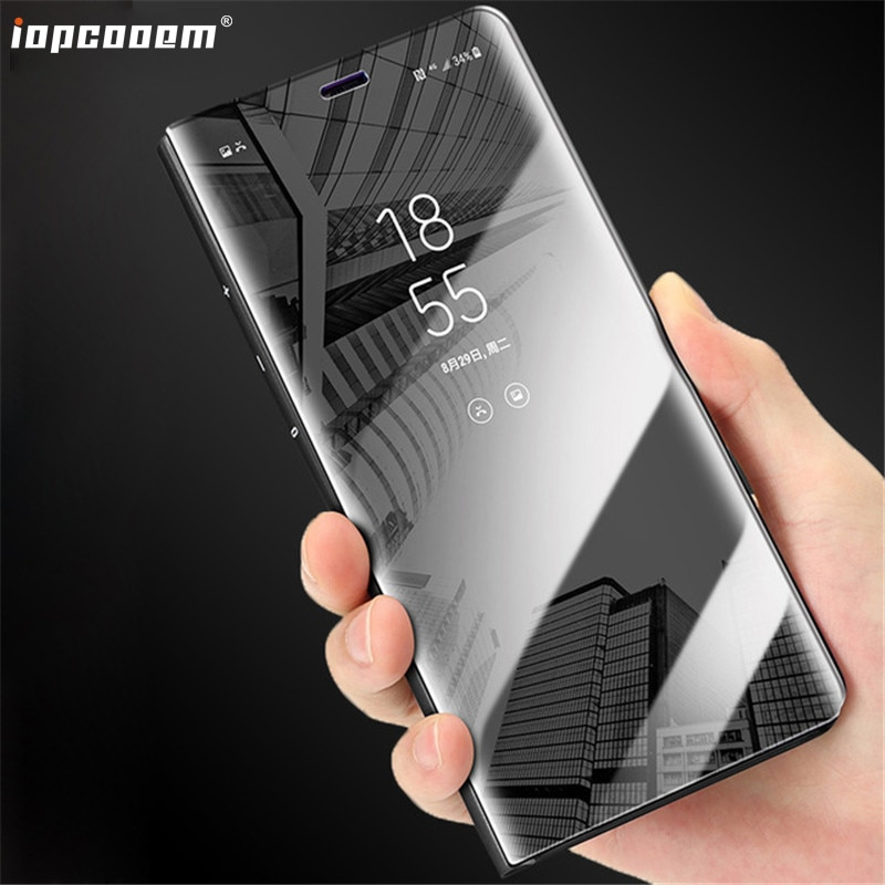 Para Samsung Galaxy Caso Neo J701 J7 J701F J701M Núcleo Limpar Espelho Da Aleta de Couro PU Tampa do PC de Volta para Samsung NXT J7 J701F/Caso DS