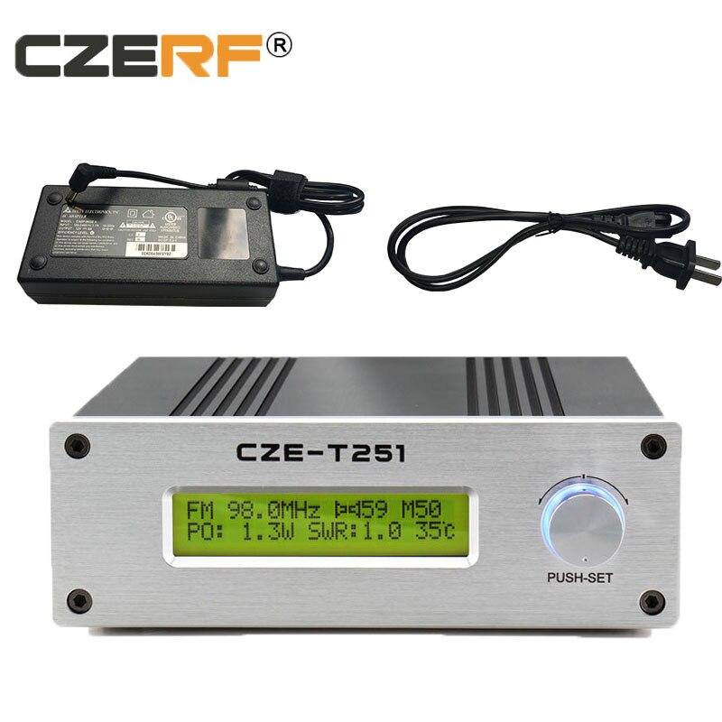 Envío Gratis CZE-T251 transmisor fm de 25 w/estación de transmisión PLL estéreo con fuente de alimentación