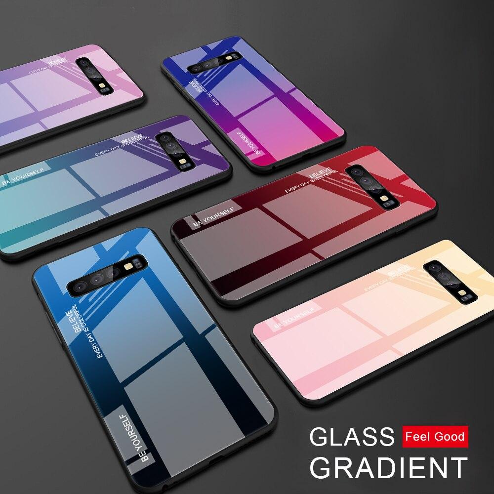 Renkli samsung kılıfı Galaxy S10 S10e A9 A7 A8 A6 artı 2018 A7 A5 J4 J6 artı S9 S8 artı not 8 9 S20 Ultra temperli cam kapak