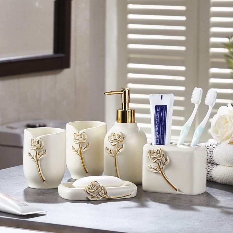 الحديثة مجموعة من خمس مجموعات من الحديثة الحمام مجموعة الراقية غسل كوب الإبداعية الحمام كيت جديد الزفاف المنتجات lo83242