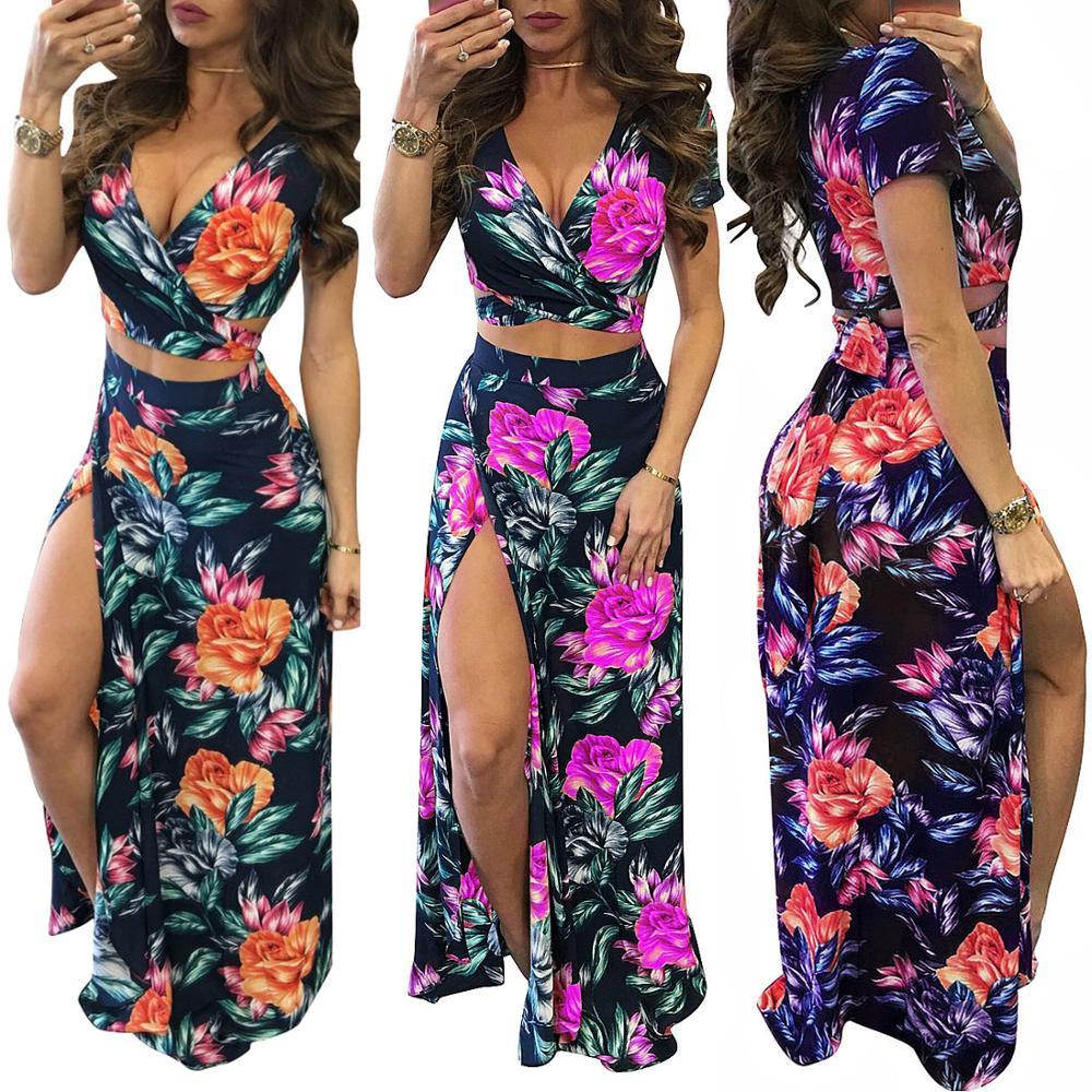 Las mujeres de dos piezas falda impresión top corto ajustado Falda larga de 2 piezas para las mujeres faldas ropa de dos piezas conjuntos trajes de las mujeres