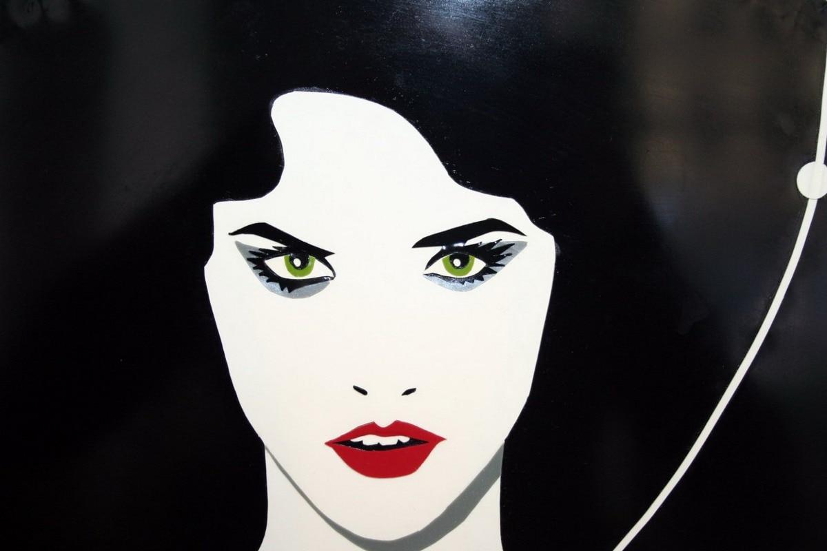 Póster de tela impresa a medida para mujer Maquillaje facial cuadro de bruja gótica RW047 decoración de pared decoración de habitación decoración del hogar (marco disponible)