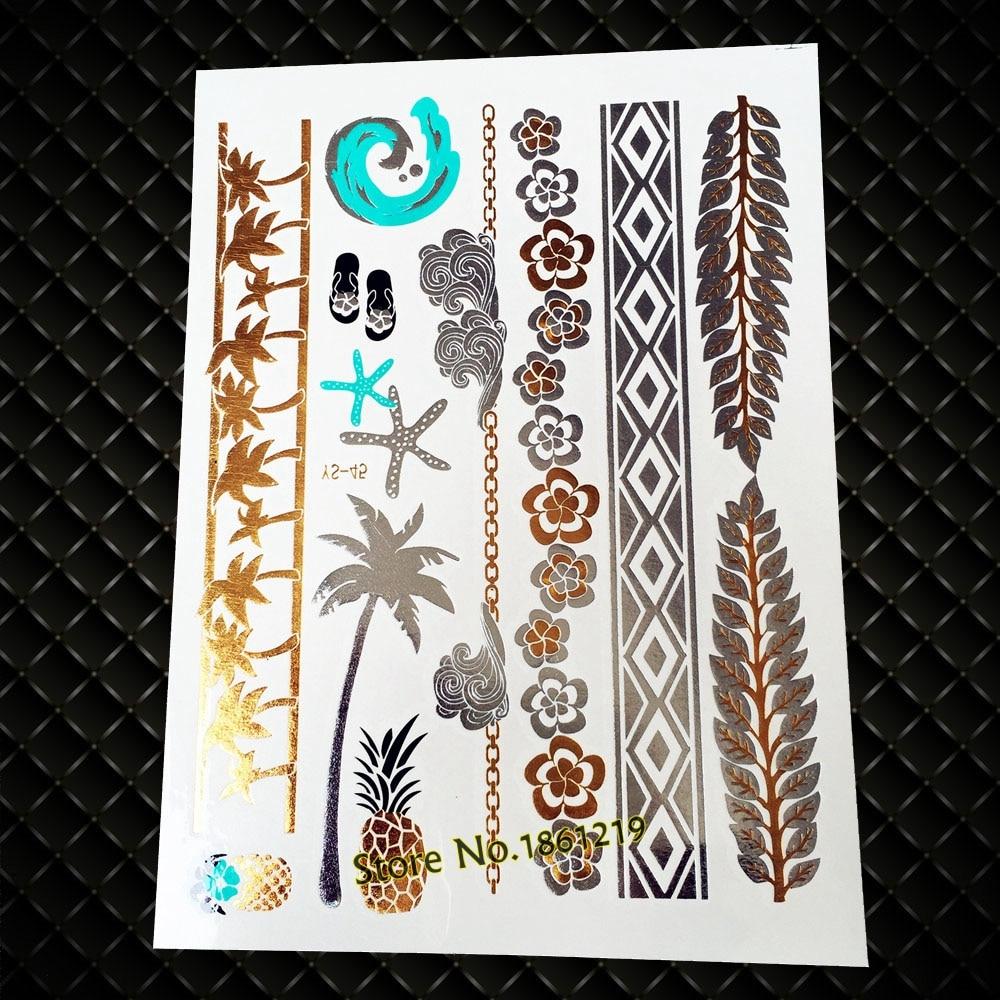 25 stil Sommer Wasserdichte Tattoo-Flash-Gold Ananas Kokos Baum Tatoo Körper Kunst Paste Gefälschte Temporäre Metallic Tattoo Aufkleber
