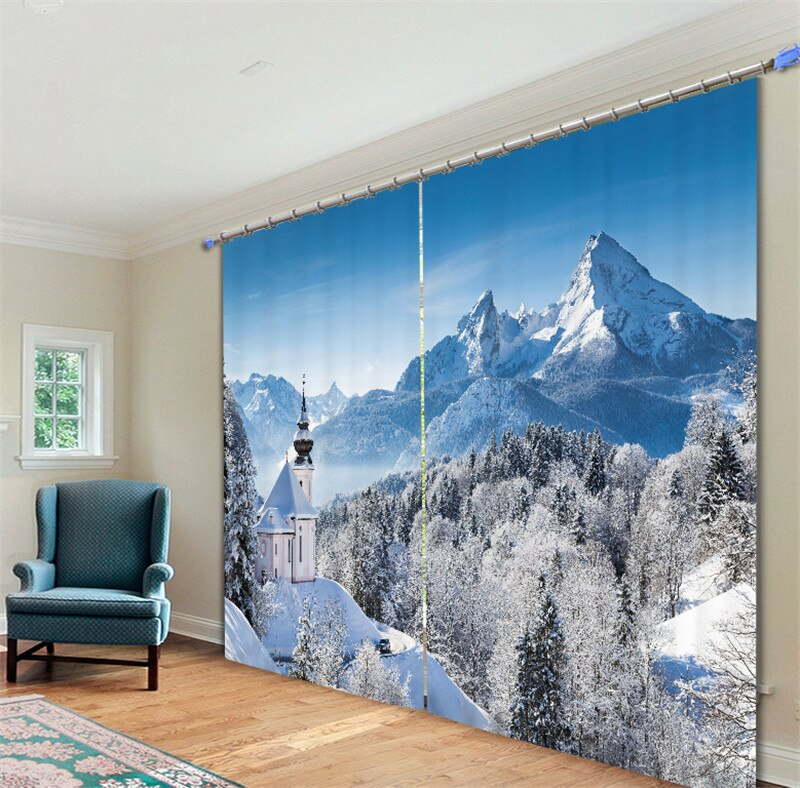Cortinas opacas para ventana 3D con paisaje Ártico para sala de estar, dormitorio, Hotel/cortina para oficina, Cortinas para sala