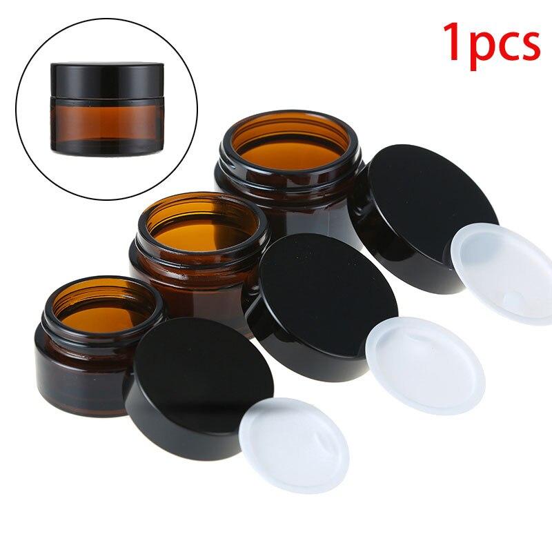 1 piezas x vacía de 5g 10g 15g 20g 30g 50g frascos de vidrio ámbar contenedores envase de viaje para botellas en polvo de loción de crema cosmética