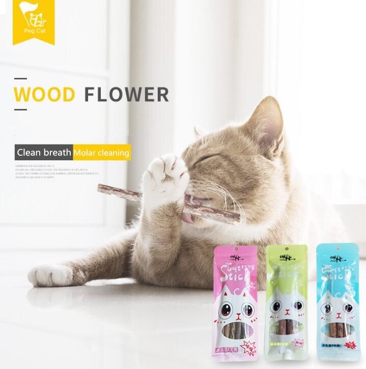 2/5 Uds gato Limpieza de dientes hierba gatera natural Gato Molar dientes con Matatabi Actinidia fruta Silvervine palillos de gato para aperitivo
