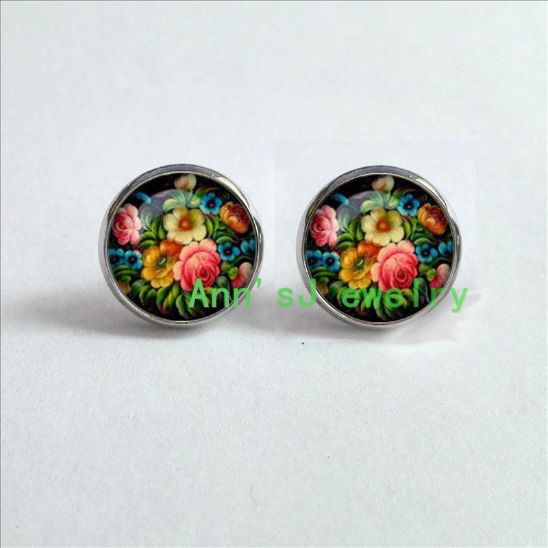 ES-00247, 1 par, pendientes Zhostovo, pendientes tradicionales rusos, pendientes de cristal perforados, pendientes de cabujón