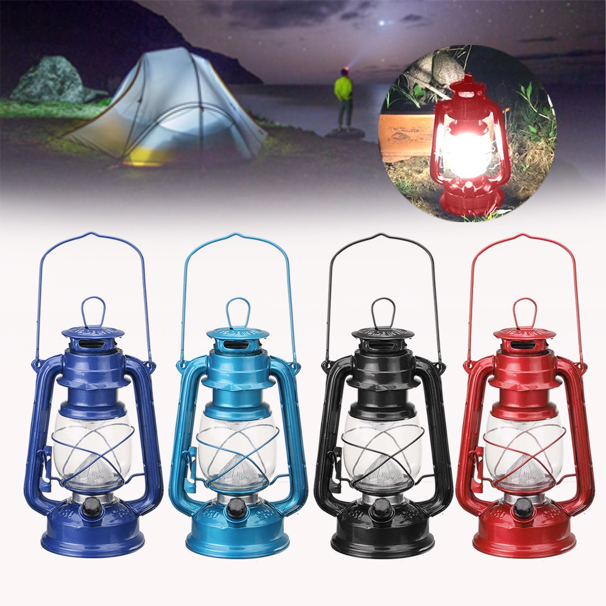Style Vintage Portable 15 LED lanterne à piles intérieur extérieur jardin pêche Camping HikingTent lumière