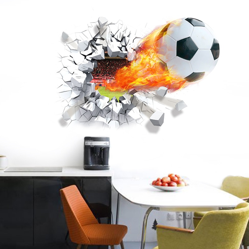 Футбол через стены наклейки для детской комнаты украшения дома настенные наклейки Искусство Футбол 3d спортивная игра ПВХ постер росписи де...