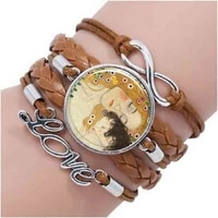 mother and child by gustav klimt bracelet fashion art bracelet bronze vintage bracelet women jewelry best friend gift