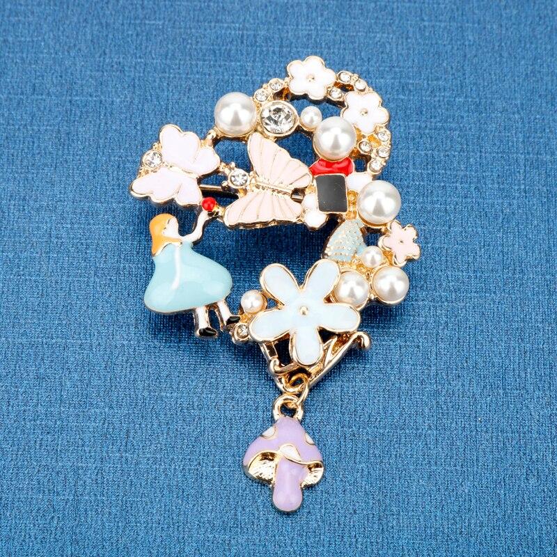 Dongsheng romântico jóias alice wonderland borboleta relógios colorido flor princesa peals broche pino para presente da menina-40