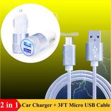 Chargeur de voiture 2 Ports + câble Micro USB 3FT, pour VKworld T1 Plus , T6 , G1 Giant, Discovery S1/ S2 , VK700 Pro VK560, VK700, VK6050