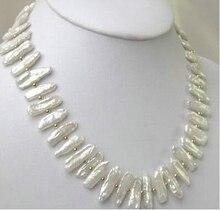 Collier de perles Biwa blanc Nature 18