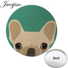 JWEIJIAO amor perro Pug un lado plano Mini espejo de bolsillo compacto portátil maquillaje tocador mano viaje monedero espejo