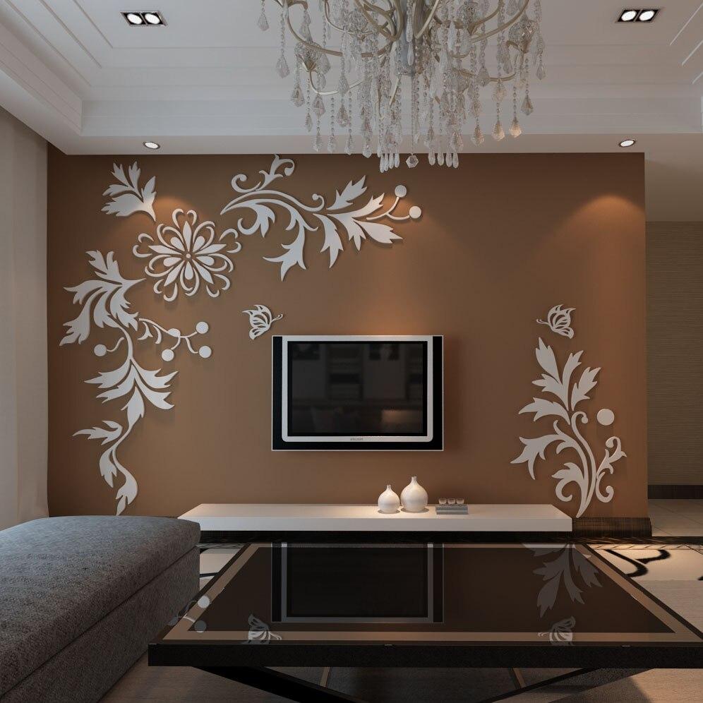 Adhesivos de decoración de habitaciones Phalaenopsis, pegatinas de pared de televisión estéreo, muebles de sofá de acrílico, pegatinas de pared del dormitorio de Color caramelo