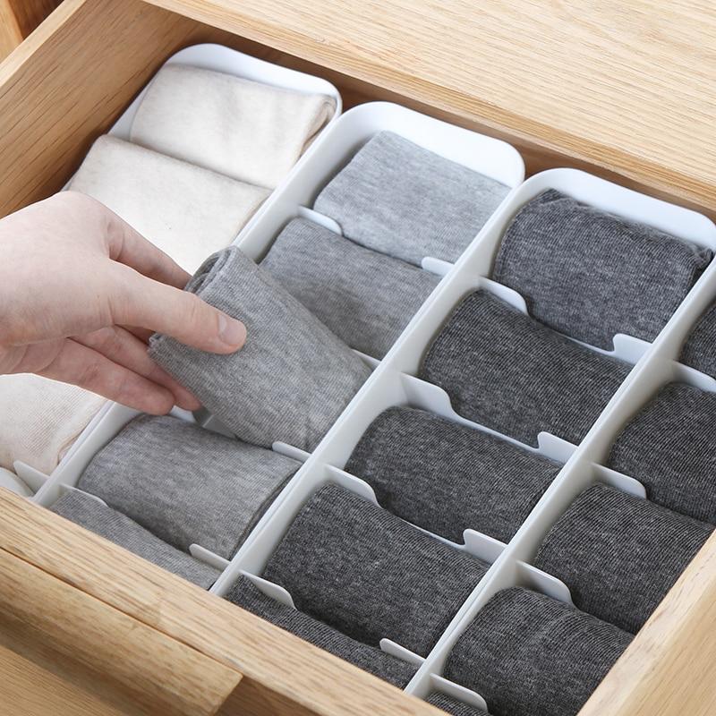Caixa de armazenamento de guarda-roupa organizador de cesta para roupas de mulher homens meias sutiã underwear caixa de armazenamento gaveta recipiente de plástico organizador