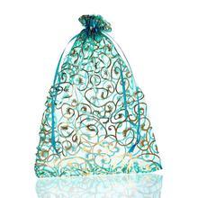 25PCs 17cm x 23cm Skyblue Blume Organza Geschenk Schmuck Taschen Hochzeit/Weihnachten Favor Feine Geschenke Paket lagerung Veranstalter