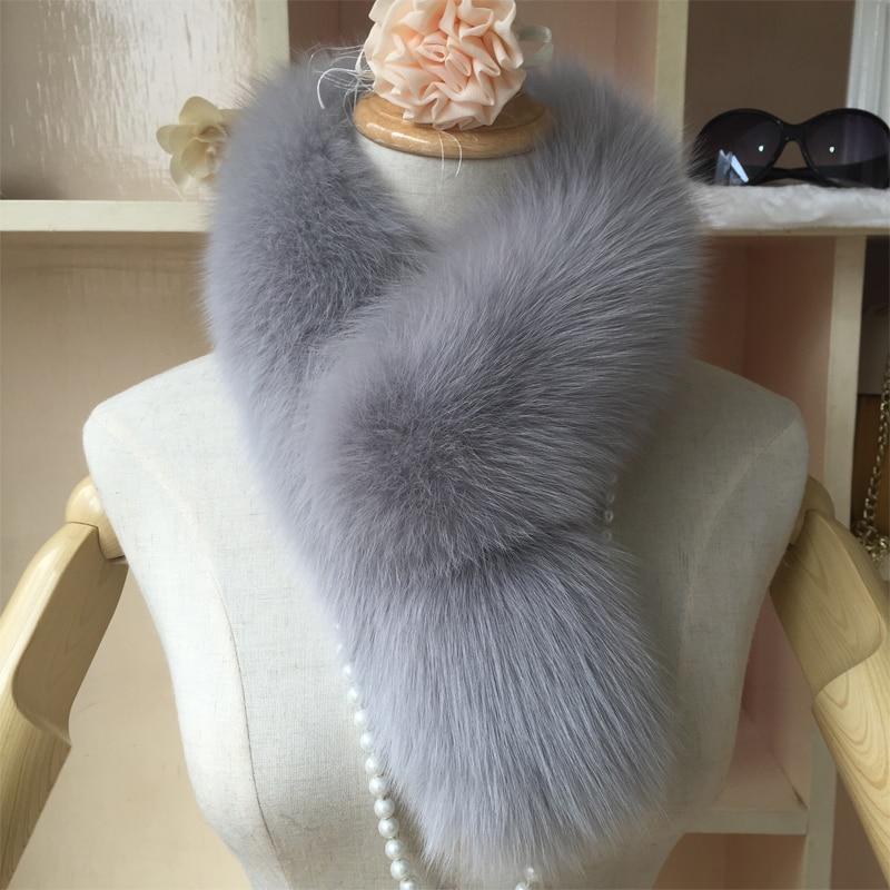 LUXURY Winter 100% Genuine Fox fur Scarves For Women Female Neck Warm 75*12cm Long Scarf Thickened Sjaal Coat Collar Neckerchief