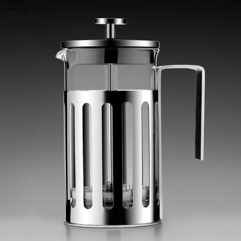 إبريق قهوة فرنسي مع فلتر ، إبريق شاي منزلي من الفولاذ المقاوم للصدأ ، ثقب يدوي ، محمول