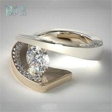 BOAKO luxe grand rempli anneaux de doigt plaqué cubique zircone cristal pierre Cocktail fête bijoux anneaux pour femmes hommes B40