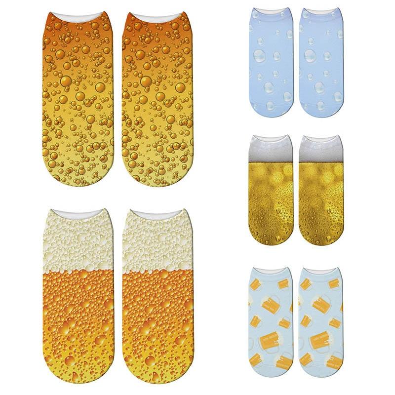 Beer Bubble 3D Full Printing Cotton Sock Women Beverage Soda Socks Drink Meias Low Cut Ankle Socks Hosiery Sox