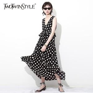 TWOTWINSTYLE Chiffon Dress Female V Neck Sleeveless Draw String Backless High Waist Ruffles Split Long Holiday Dresses Summer