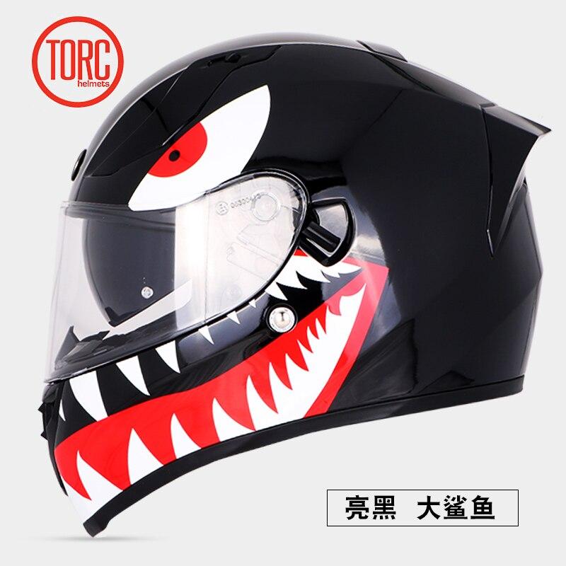 TORC جديد كامل الوجه دراجة نارية خوذة دراجة الدراجات البخارية خوذة سباق الطريق ركوب تبسيط خوذة المزدوج أقنعة T18