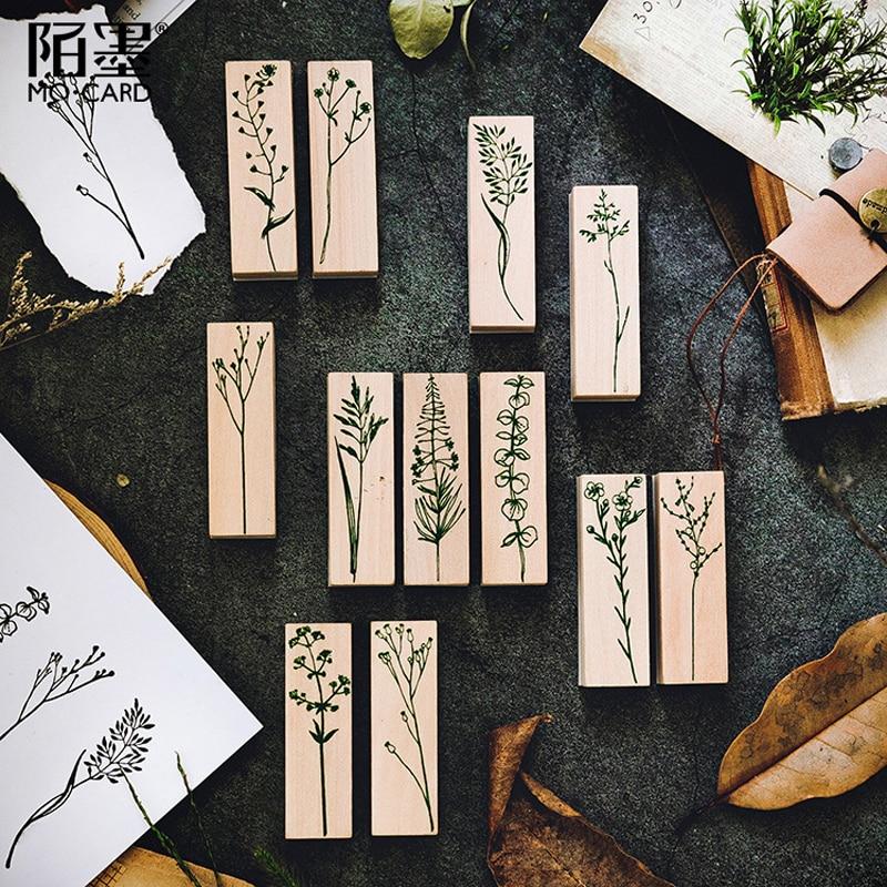 Sello de eucalipto de decoración de plantas de césped Vintage, sello de goma de madera DIY para álbum de recortes, papelería, álbum de recortes, sello estándar