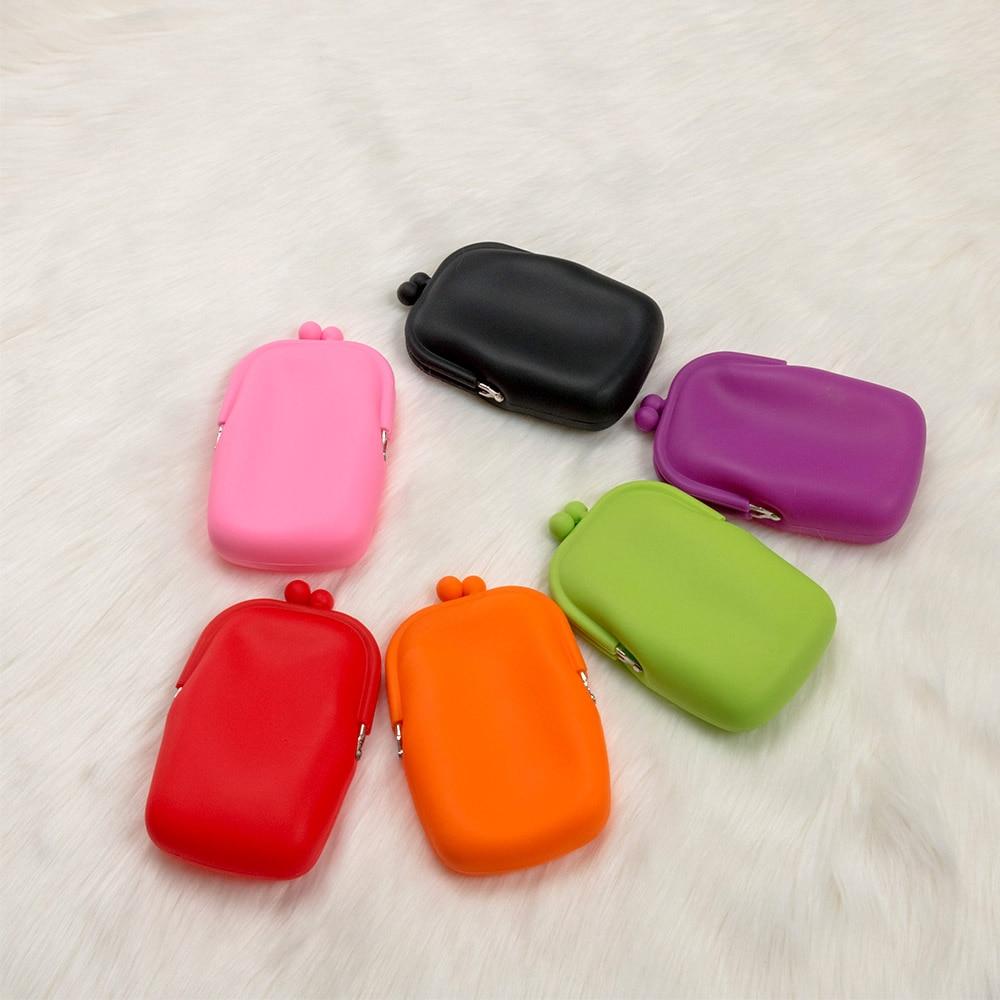 Mini bolsa de celular de borracha para cosméticos, bolsa adorável de moedas de silicone em 6 cores para mulheres e meninas