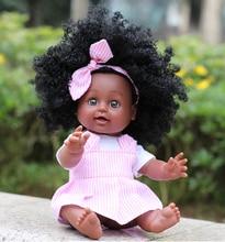 Черная кукла для девочек, 35 см, ручная работа, силиконовая, виниловая, чудесная, Реалистичная, новорожденная, детская, игрушки, подарки