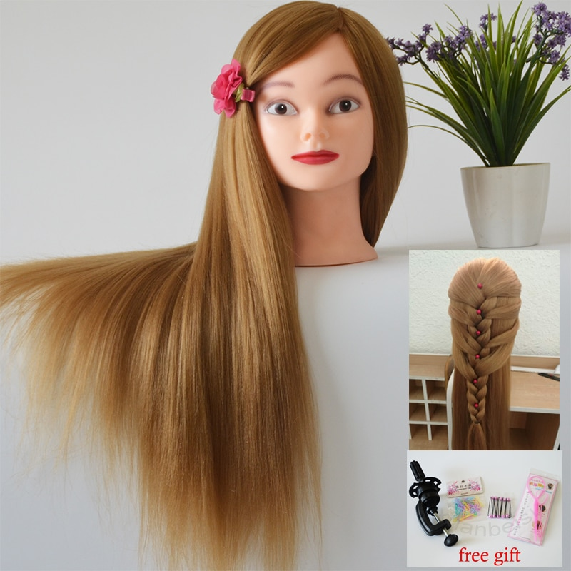 Professional Styling Mannequin Head Thick Golden Hair Maniqui Wig Head For Bridal Hairdo Dolls Head Training Head Dummy 75cm