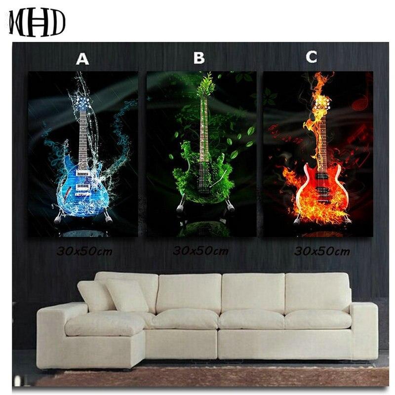 MHD diy pintura de diamante guitarra música icono cuadrado completo 3d diamante bordado tres hechizo diamante punto de cruz kit completo redondo
