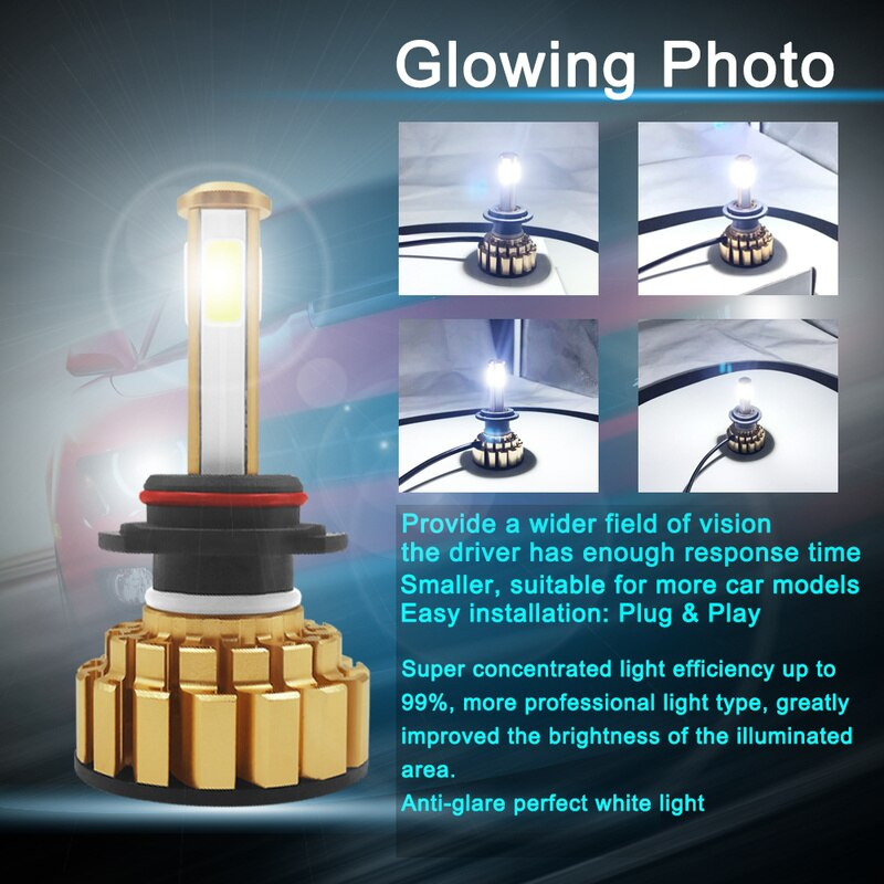 4 lados 12000LM H7 Led H4 H11 9005 9006 sin Error H4 lámparas LED 80W Auto bombillas para coches 24 V/24 V 6000K accesorios de coche