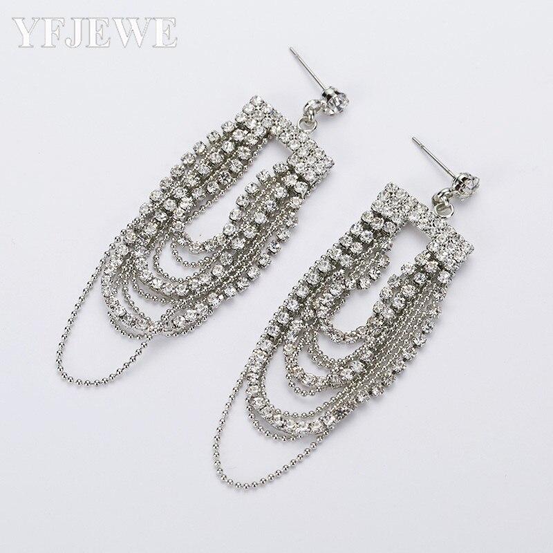 YFJEWE Floral Shape Silver Crystal Long Dangle Drop Earrings Wedding Bridal Chandelier Party Fantaisie Femme Pendantes E144