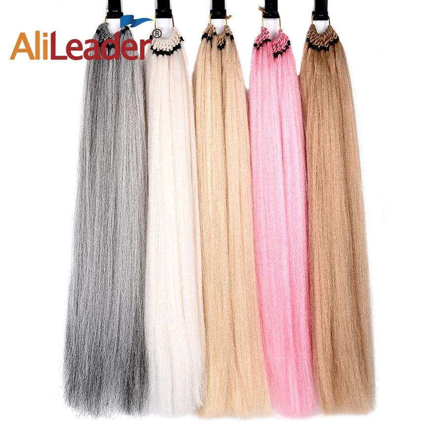 AliLeader 24 pulgadas rubia Rosa marrón Natural Yaki recta pre-looped extensiones de cabello sintético de ganchillo trenzado 25 hebras/paquete