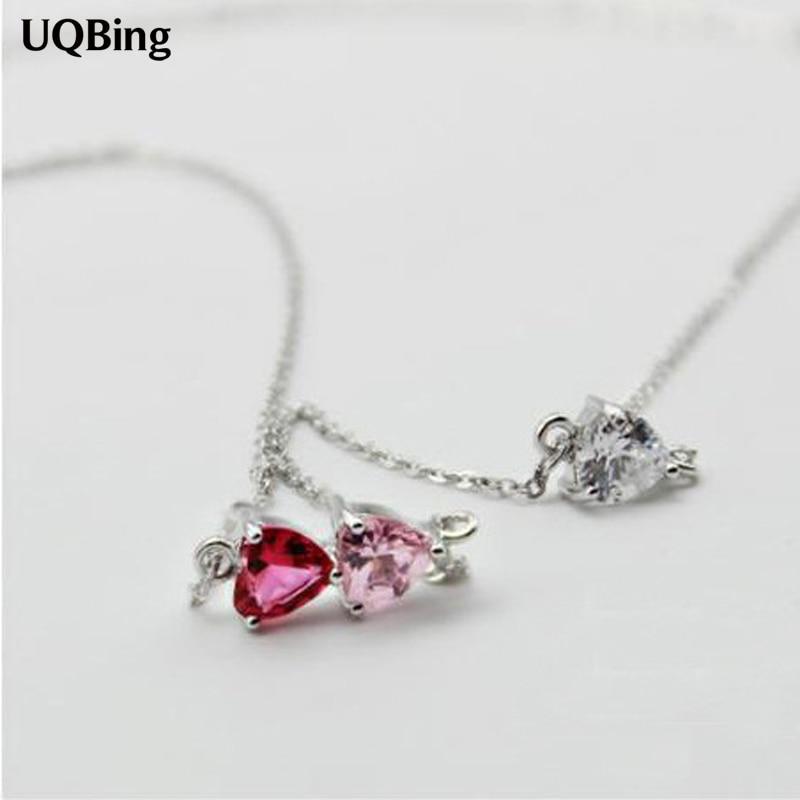 Triangulo de Plata de Ley 925, collares con colgante de diamante de cristal colorido para mujer, Collar de joyería, Collar de Plata
