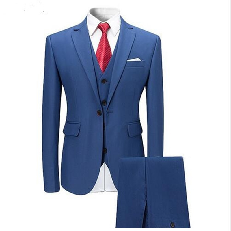 Formal Business Suits for Men 3 Pieces Wedding Tuxedos Slim Fit Party (Jacket+Vest+Pant )
