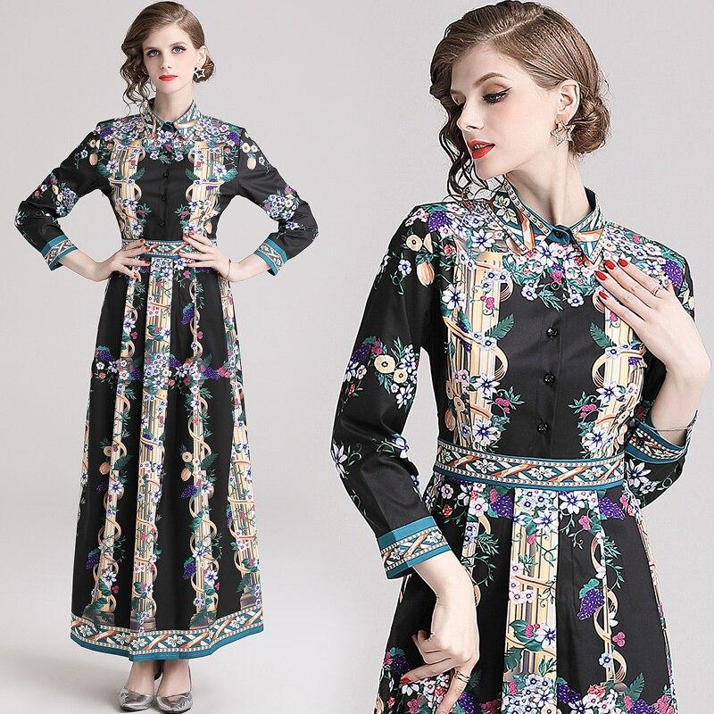 2019 Spring Summer Fall Runway Luxury Vintage Floral Print Collar Long Sleeve Empire Waist Women Lady Casual A-Line Maxi Dress