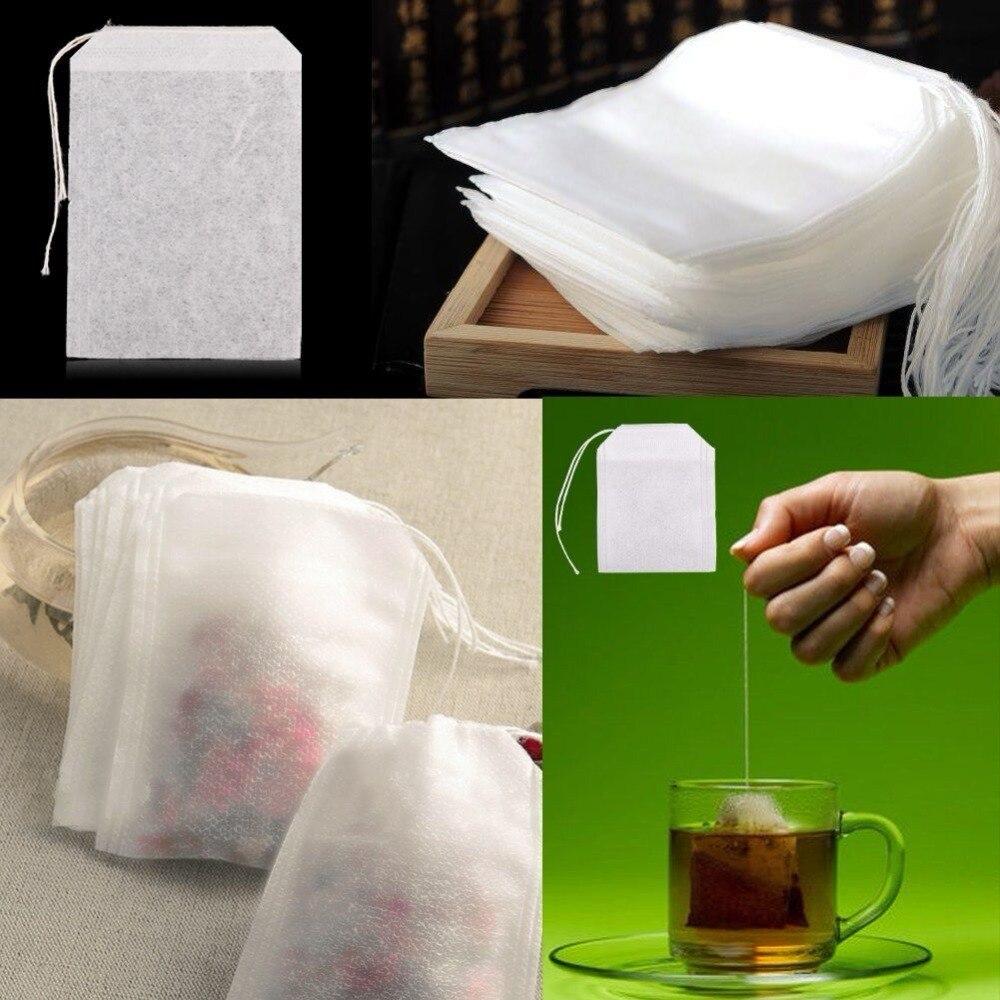100X Extra grande sacos de té vacíos de papel de filtro con sellado térmico hierba té suelto Bolsa 6*8 cm
