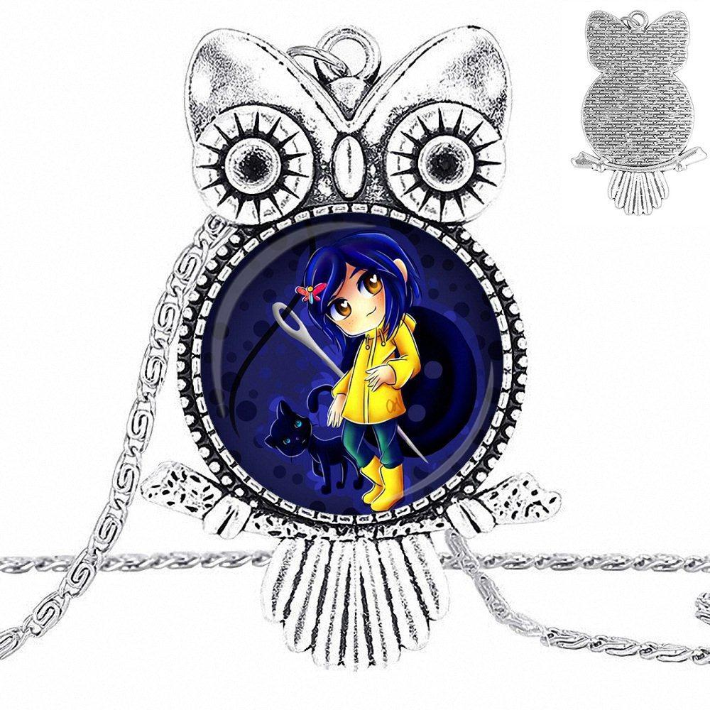EJ Glaze cristal colgante collar hecho a mano medio colgante búho Collar para niños cuentas Coraline y la Puerta Secreta