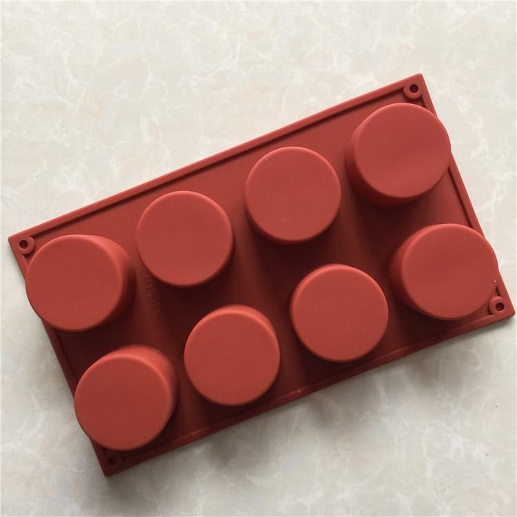 Molde cilíndrico de 8 orificios para cupcake molde de vela de aromaterapia de silicona herramienta de pastel fácil de limpiar