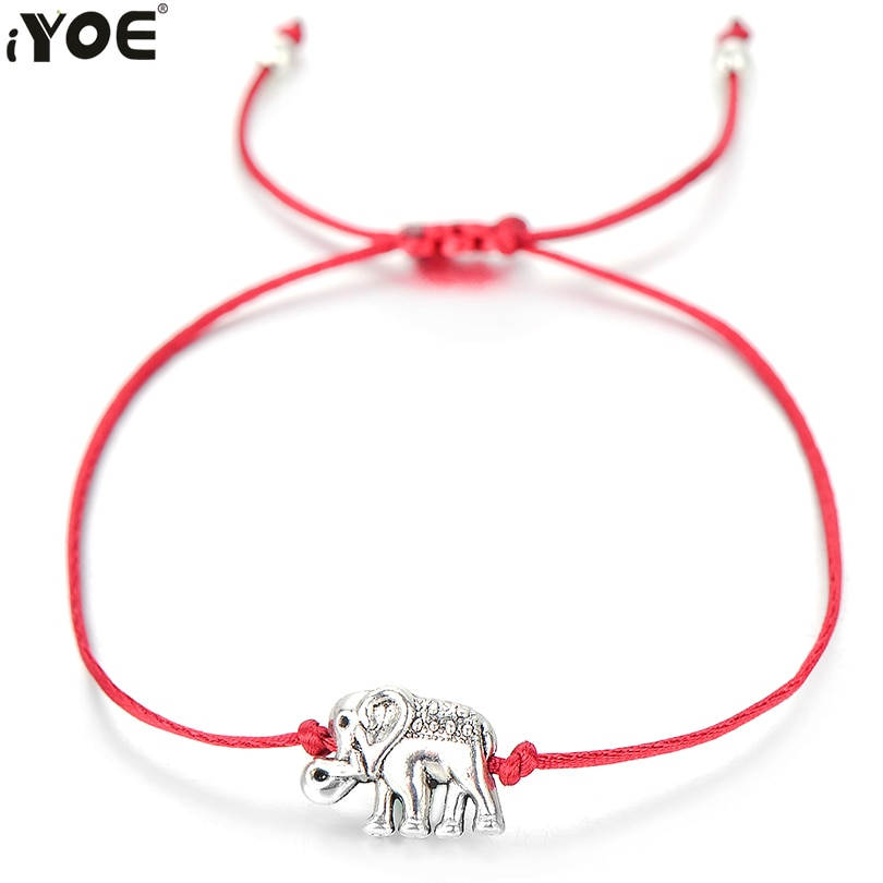 IYOE de Color plata lindo elefante pulsera para Mujeres Hombres niños suerte rojo pulseras de pareja de hecho a mano cuerda familia regalo de la joyería