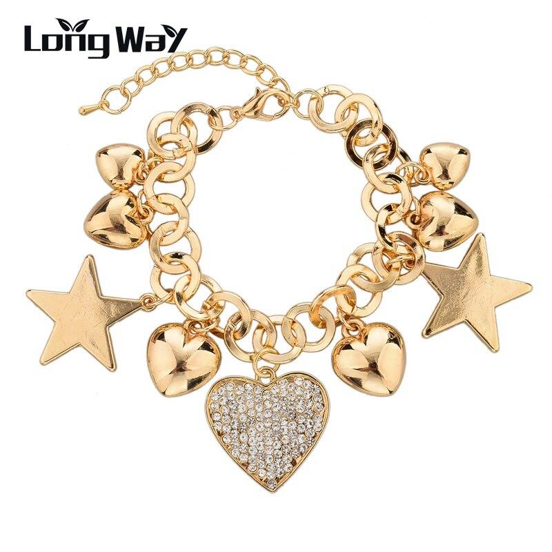 Pulsera de Color oro de una Dirección de Promoción de LongWay para Mujeres Hombres pulsera cadena corazón estrella pulsera SBR140142