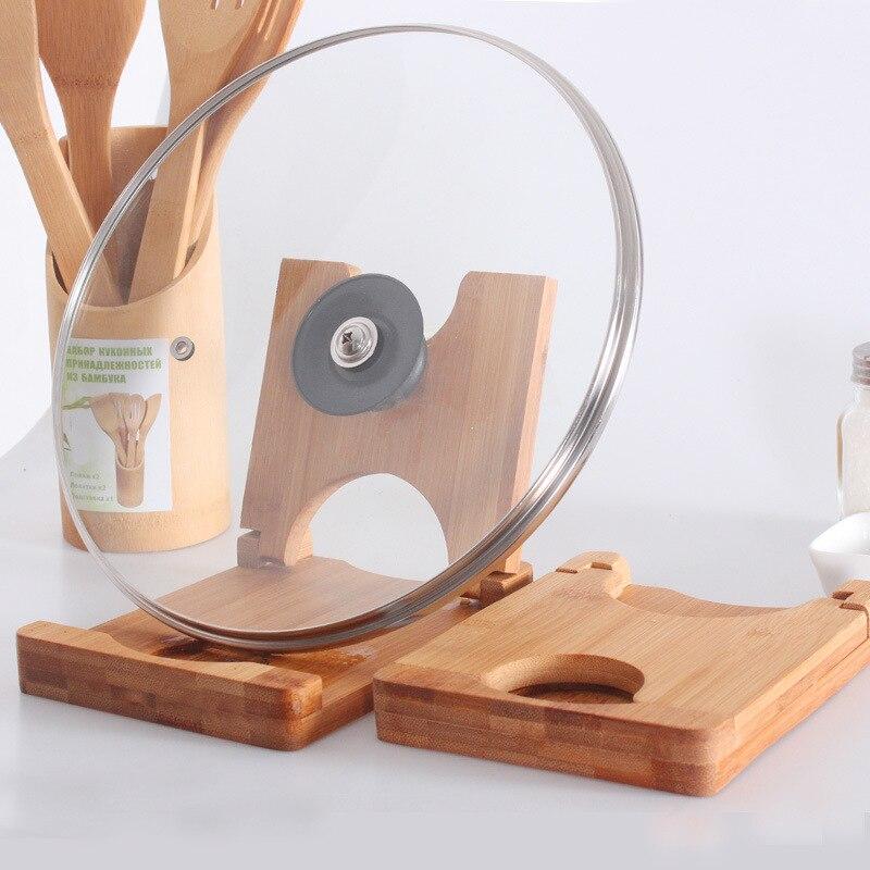 Falten bambus topf deckel halter schneidebrett lagerregal topf clip löffel rest regal faltbare holz küche deckel rahmen