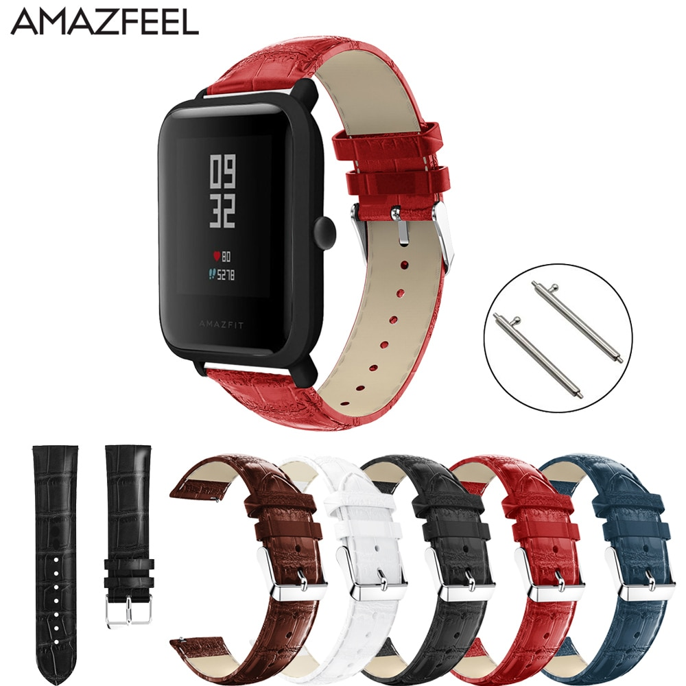 Genuine Leather Watch Strap 20mm for Xiaomi Huami Amazfit Bip Watch Bracelet Mijia Quartz Samsung Gear S2 Garmin Vivoactive 3