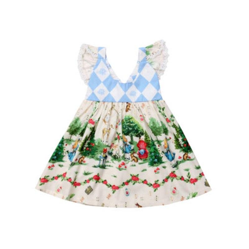 Bebê Menina Vestido de Verão Solta Casuais Diamante Padrão de Impressão O Pescoço A Linha de Mini Vestido Bonito Dos Desenhos Animados Manga Voando chegada Venda Quente